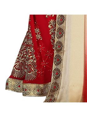 Khushali Fashion Embroidered Georgette Half & Half Saree_KF44