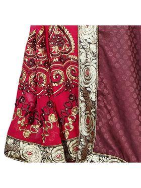Khushali Fashion Embroidered Georgette Half & Half Saree_KF53
