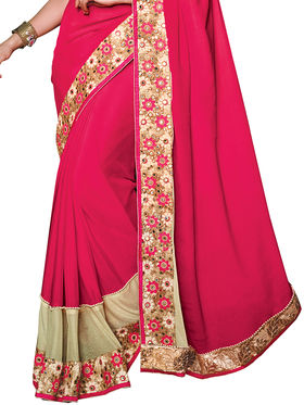 Shonaya Embroidered  Mirror Work Georgette Sarees -Hiext-2252