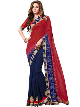 Indian Women Bandhani Bandhani Print  Georgette Saree -Ic11230