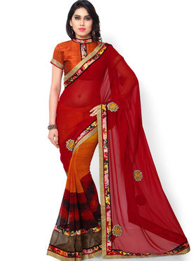 Indian Women Printed & Embroidered Georgette Saree -ic28