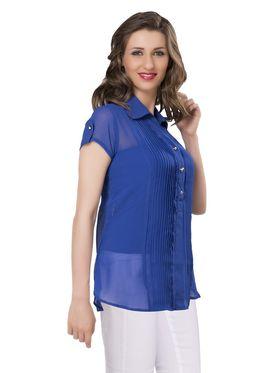 Ishin Georgette Solid Top - Blue_INDWT-5038
