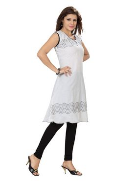 Ishin Poly Cotton Printed Kurti - White_ADNK-294