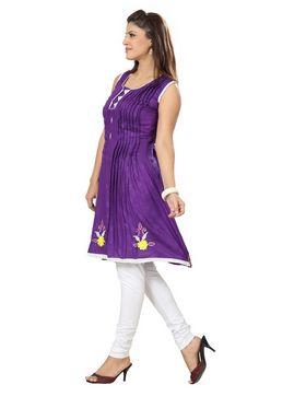Ishin Poly Cotton Printed Kurti - Purple_ADNK-307