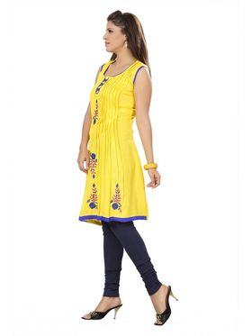 Ishin Poly Cotton Printed Kurti - Yellow_ADNK-325