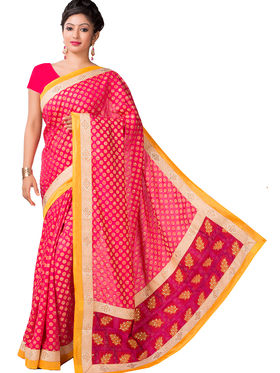 Ishin Cotton Silk Printed Saree - Red - ANCL-2433