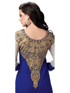 Ishin Embroidered Georgette Kurti - Blue_ASHR-Kaajjali