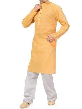 Ishin Cotton Plain Kurta Pajama For Men_indsh-106 - Yellow
