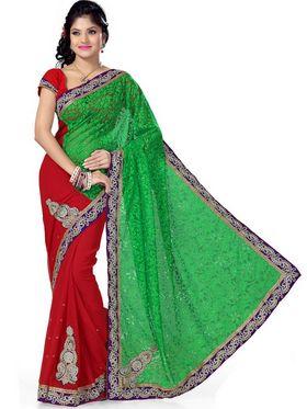 Ishin Brasso Embroidered Saree - Multicolour_MR-577
