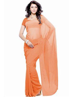 Khushali Fashion Georgette Plain Saree(Light Orange)_JAZZ504