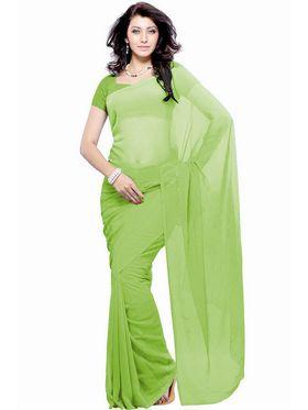 Khushali Fashion Georgette Plain Saree(Light Green)_JAZZ509