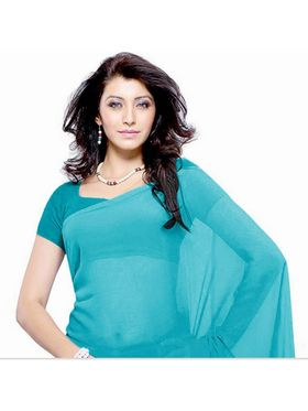 Khushali Fashion Georgette Plain Saree(Turquoise)_JAZZ521