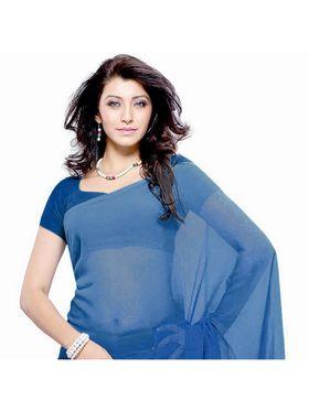 Khushali Fashion Georgette Plain Saree(Blue)_JAZZ568