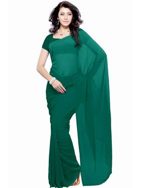 Khushali Fashion Georgette Plain Saree(Rama Green)_JAZZ569