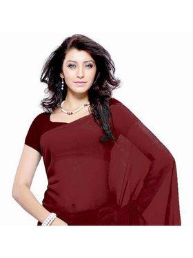 Khushali Fashion Georgette Plain Saree(Dark Maroon)_JAZZ578