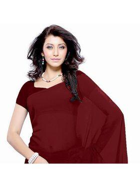 Khushali Fashion Georgette Plain Saree(Maroon)_JAZZ584