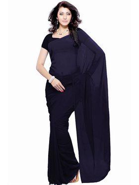 Khushali Fashion Georgette Plain Saree(Navy Blue)_JAZZ585