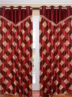 Set of 2 JBG Fancy Lace Check design Door Curtains - Maroon & Cream- JBG422