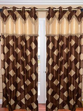 Set of 2 JBG Fancy Lace Check design Door Curtains - Brown & Cream- JBG426