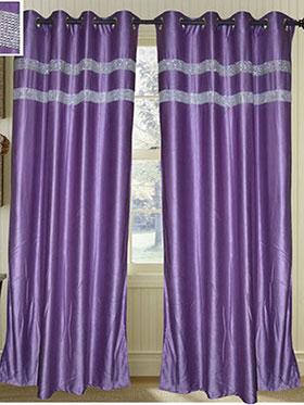 Set of 2 JBG Luxury Diamond Lace Design Door Curtains - Purple- JBG415