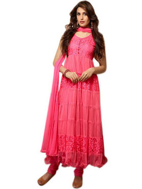 Javuli Georgette Embroidered  Dress Material - Pink - net-pink