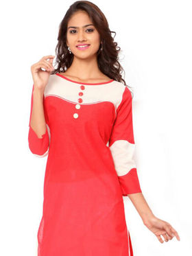 Regalia Ethnic  Plain  Cotton Red Kurti -Kre128