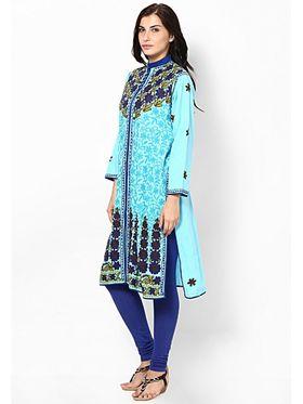 Arisha Cotton Printed Kurti KRT6018-Blu