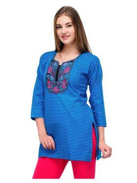 Arisha Cotton Printed Kurti KRT6023_Blu