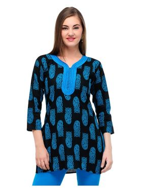 Arisha Cotton Printed Kurti KRT6030_Blu