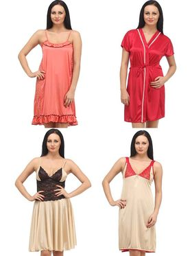 Set of 4 Klamotten Satin Solid Nightwear - X04-06-14-45