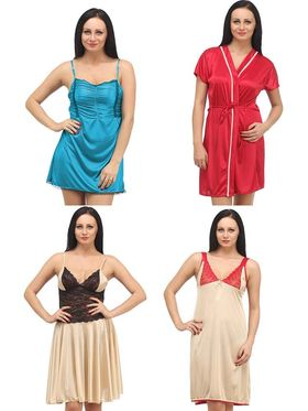 Set of 4 Klamotten Satin Solid Nightwear - X04-06-14-97