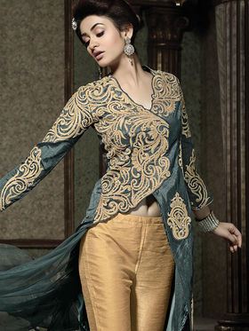 Viva N Diva Semi Stitched Pure banarasi Floral Embroidered Semi stitched Suits Kyraa-9002