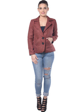 Lavennder Maroon Jute Full Sleeve Women Jacket - LJ-24057
