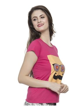 Clovia Cotton Lycra Printed T-Shirt -LT0010P22