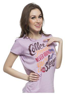 Clovia Cotton Lycra Printed T-Shirt -LT0010P26