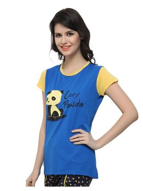 Clovia Cotton Blend Graphic Print T-Shirt -LT0040P08