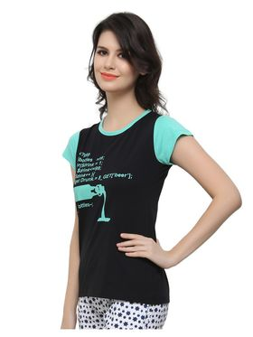 Clovia Cotton Blend Graphic Print T-Shirt -LT0040P13