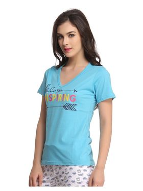 Clovia Cotton Graphic Print T-Shirt -LT0060P03