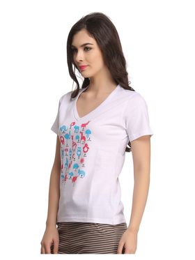 Clovia Cotton Graphic Print T-Shirt -LT0060P18
