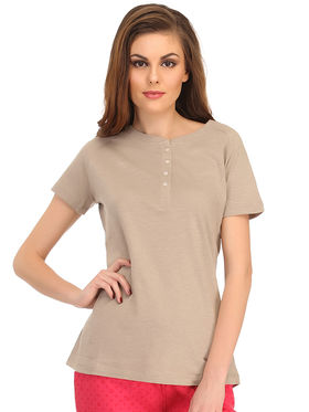 Clovia Cotton Solid T-Shirt -LT0101P24