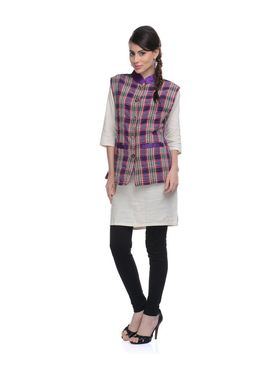 Lavennder Khadi-Cotton Check Print Nehru Jacket - Purple and Pink