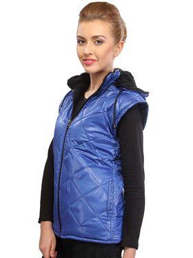 Lavennder Poly Synthetic Leather Plain Jacket - Navy Blue - 41030