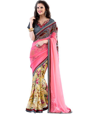 Nanda Silk Mills Designer Printed Georgette Sarees With Embroidered Blouse Piece  _MK-2010