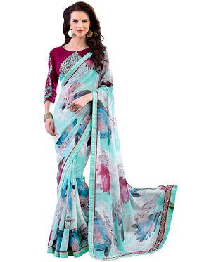 Nanda Silk Mills Designer Printed Georgette Sarees With Embroidered Blouse Piece  _MK-2014