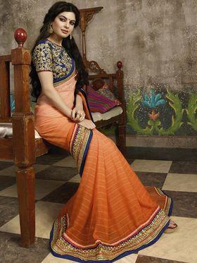 Zoom Fabrics Net Embroidered Saree -N1614