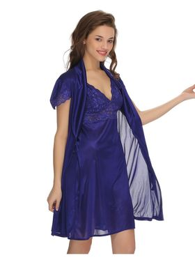 Clovia Satin & Nylon Lace Solid Nightsuit -NS0292P08