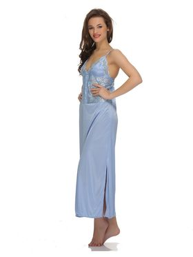 Clovia Satin  Lace Solid Nightsuit -NS0517P03