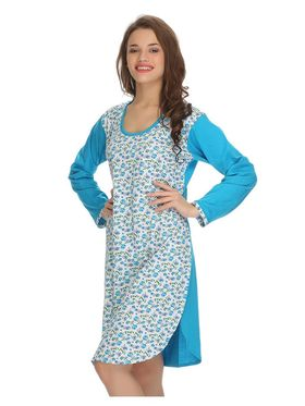 Clovia Cotton Printed Nighty -NS0557P03