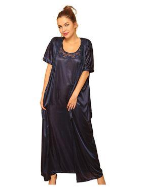Clovia Satin & Nylon Lace Solid Nightsuit -NSM236G08