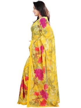 Nanda Silk Mills Faux Georgette Printed Saree - Yellow - NSM03